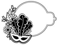 Black and white silhouette frame with carnival masks. Raster cli Royalty Free Stock Photo