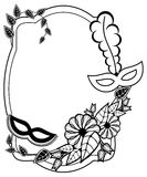 Black and white silhouette frame with carnival masks. Raster cli Royalty Free Stock Photos