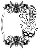 Black and white silhouette frame with carnival masks. Raster cli Royalty Free Stock Image