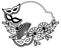 Black and white silhouette frame with carnival masks. Raster cli Stock Images