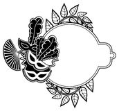 Black and white silhouette frame with carnival masks. Raster cli Stock Image