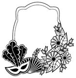 Black and white silhouette frame with carnival masks. Raster cli Royalty Free Stock Images