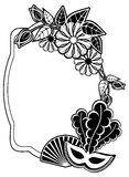 Black and white silhouette frame with carnival masks. Raster cli Stock Photo