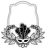 Black and white silhouette frame with carnival masks. Raster cli Stock Photos