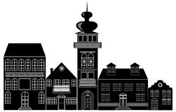 Black and white silhouette of the historic town Stock Photo