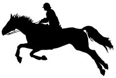 Silhouette of jumping horse with rider. Black and white silhouette of horse during equestrian jump with rider Royalty Free Stock Photos