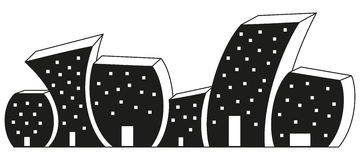 Black and white silhouette of houses. Vector black and white silhouette of houses Stock Photos