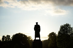 Black-and-white silhouette of Marshal Zhukov in Victory Park Royalty Free Stock Photos