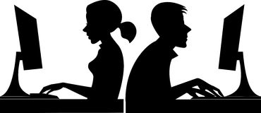 Black and white silhouette people at work, man and woman at the computer in profile Royalty Free Stock Photos