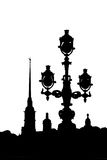Black-and-white silhouette of the Peter Paul Fortress and streetlight Royalty Free Stock Photos