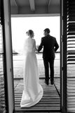 Black and white silhouette photo of bride and groom posing on ho Royalty Free Stock Photography