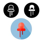 Black, white silhouette and red flat infrared LED easy editable icons. Royalty Free Stock Image