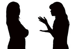 Black and white silhouette of relations between mom and teenage daughter. Black and white silhouette of family relations between mom and teenage daughter Royalty Free Stock Photo