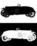 Black and white silhouette of a retro car. In a white and black backgrounds Stock Image