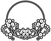 Black and white silhouette round frame with decorative flowers. Design element for book covers, title and page backgrounds. Raster clip art Royalty Free Stock Photos