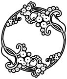 Black and white silhouette round frame with decorative flowers. Design element for book covers, title and page backgrounds. Raster clip art Stock Photography