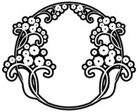 Black and white silhouette round frame with decorative flowers. Design element for book covers, title and page backgrounds. Raster clip art Royalty Free Stock Photo