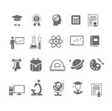 Black and white silhouette school  education icons. Different black and white silhouette school and education icons on  vector illustration Royalty Free Stock Image
