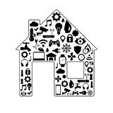 Black and white silhouette of smart house. Royalty Free Stock Photo