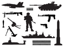 Black and white silhouettes of armed forces. Icons set Royalty Free Stock Photos