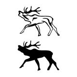 Black and white silhouettes of Elk Stock Photo