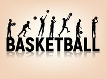 Silhouettes letters basketball boy playing ball stock illustration
