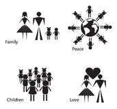 Black and white silhouettes of people and children. Royalty Free Stock Images