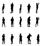 Black and White Silhouettes of People Vector Illustration. Stock Photos