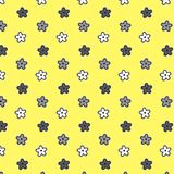 Black white silver flower pattern yellow background. Vector illustration image Royalty Free Stock Photos