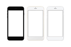 Black, white silver and white gold smart phone isolated. White screen for mockup Royalty Free Stock Photography