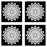 Black and white simple flowers Royalty Free Stock Photo