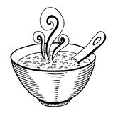 Black and white simple hand drawn doodle of a bowl of soup. Vector illustration Stock Image