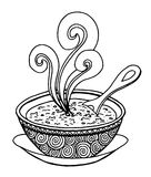Black and white simple hand drawn doodle of a bowl of soup. Vector illustration Stock Images