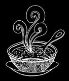 Black and white simple hand drawn doodle of a bowl of soup. Vector illustration Stock Photo