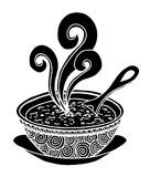 Black and white simple hand drawn doodle of a bowl of soup. Vector illustration Royalty Free Stock Photography
