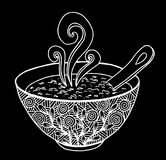 Black and white simple hand drawn doodle of a bowl of soup. Vector illustration Royalty Free Stock Photos