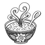 Black and white simple hand drawn doodle of a bowl of soup. Vector illustration Stock Photos