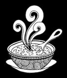 Black and white simple hand drawn doodle of a bowl of soup. Vector illustration Royalty Free Stock Photo