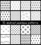 Black And White Simple Patterns. Set of 16 contrast seamless patterns. Black and white  ornaments collection. Different abstract geometric patterns. Endless Royalty Free Stock Photo