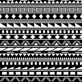 Black and white simple shapes ethnic african striped seamless pattern, vector. Background Royalty Free Stock Image