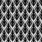 Black and white simple trees geometric ikat seamless pattern, vector stock illustration