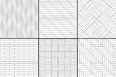 Black and white simple wooden parquet floor set - herringbone, stripes, squares seamless patterns, vector. Collection royalty free illustration