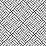 Black and white simple woven geo seamless pattern, vector Stock Image
