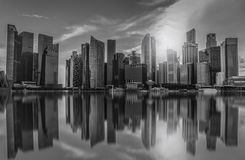 Black and white Singapore city skyline of business district Stock Images