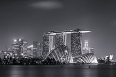 Black And White Singapore Night Stock Images