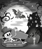 Black and white skeleton theme image Stock Photos
