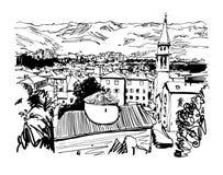Black and white sketch art panorama of Budva Montenegro Stock Images