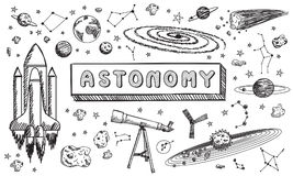 Black and white sketch astronomy science education doodle. Black and white sketch astronomy science education subject doodle icon for presentation title or royalty free illustration