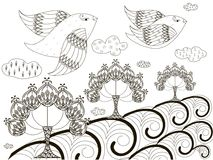 Black and white sketch of background: flying birds, stylized trees, clouds, anti stress coloring page illustration Stock Photos