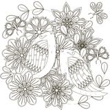 Black and white sketch of bouquet with birds, stylized flowers and butterflies Stock Image